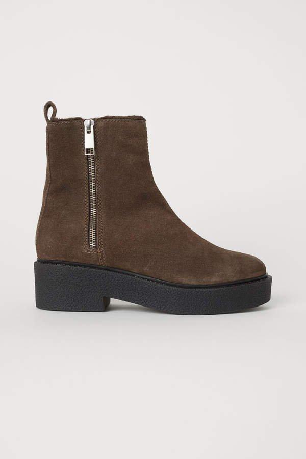 Suede Boots - Beige