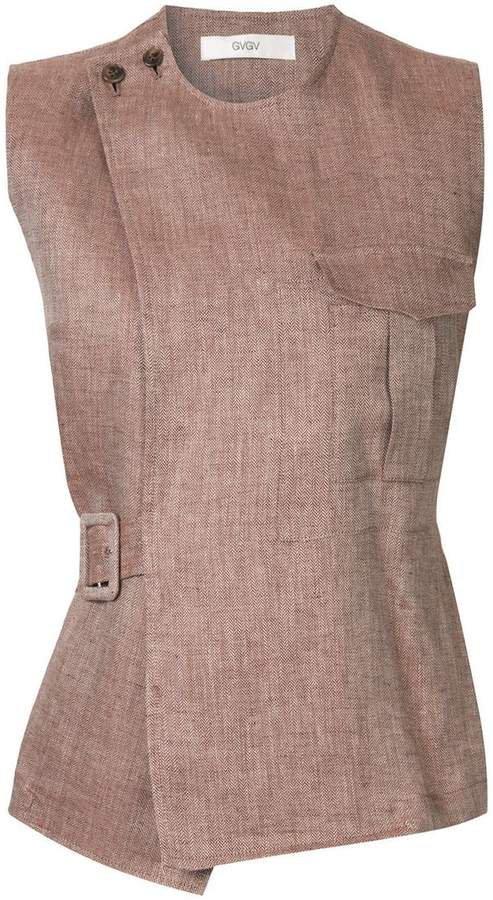 sleeveless safari blouse