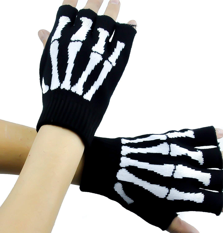 Amazon.com: Skeleton Gloves Fingerless Goth Deathrock: Clothing