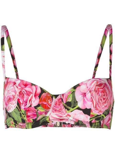 Dolce & Gabbana rose print bikini top.