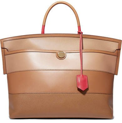 Smooth And Textured-leather Tote - Brown