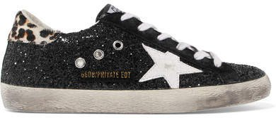 Superstar Calf Hair-trimmed Distressed Glittered Leather Sneakers - Black
