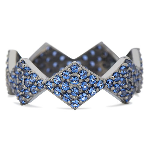 Lucia Full Blue Sapphire Pave band with Black Rhodium White Gold