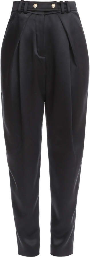 Button-Trim Silk Straight-Leg Trouser