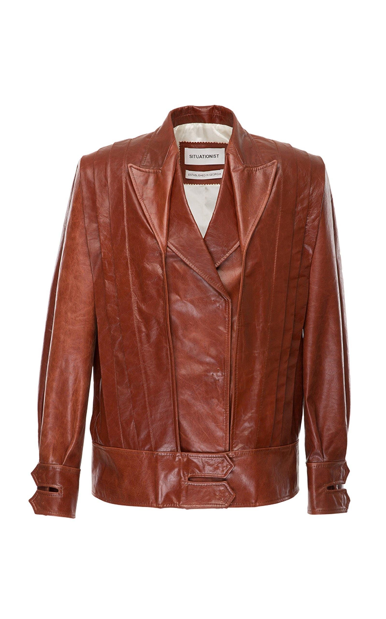 SITUATIONIST Paneled Leather Jacket