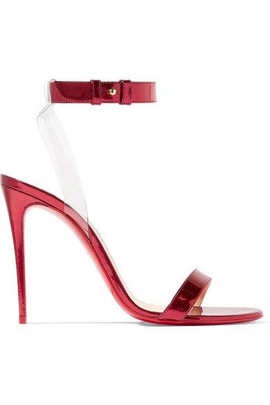Christian Louboutin | Jonatina 100 PVC-trimmed mirrored-leather sandals | NET-A-PORTER.COM