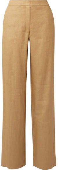 Twill Wide-leg Pants - Beige