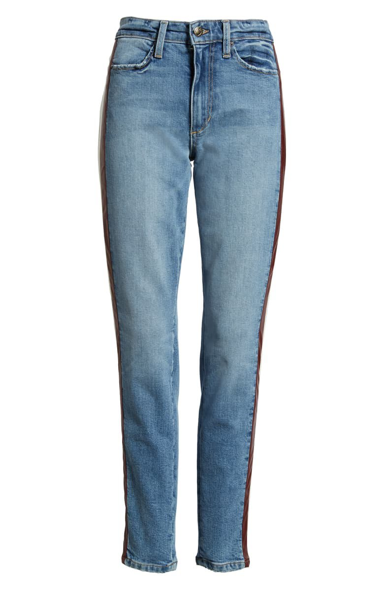 Joe's Charlie Lambskin Leather Stripe High Waist Ankle Skinny Jeans (Arlo) blue