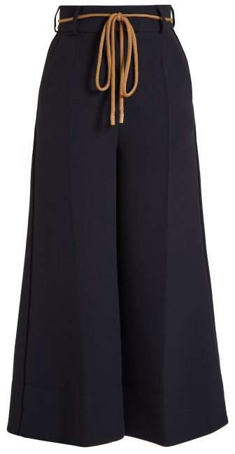 Rabea Wide Leg Cropped Cady Trousers - Womens - Navy