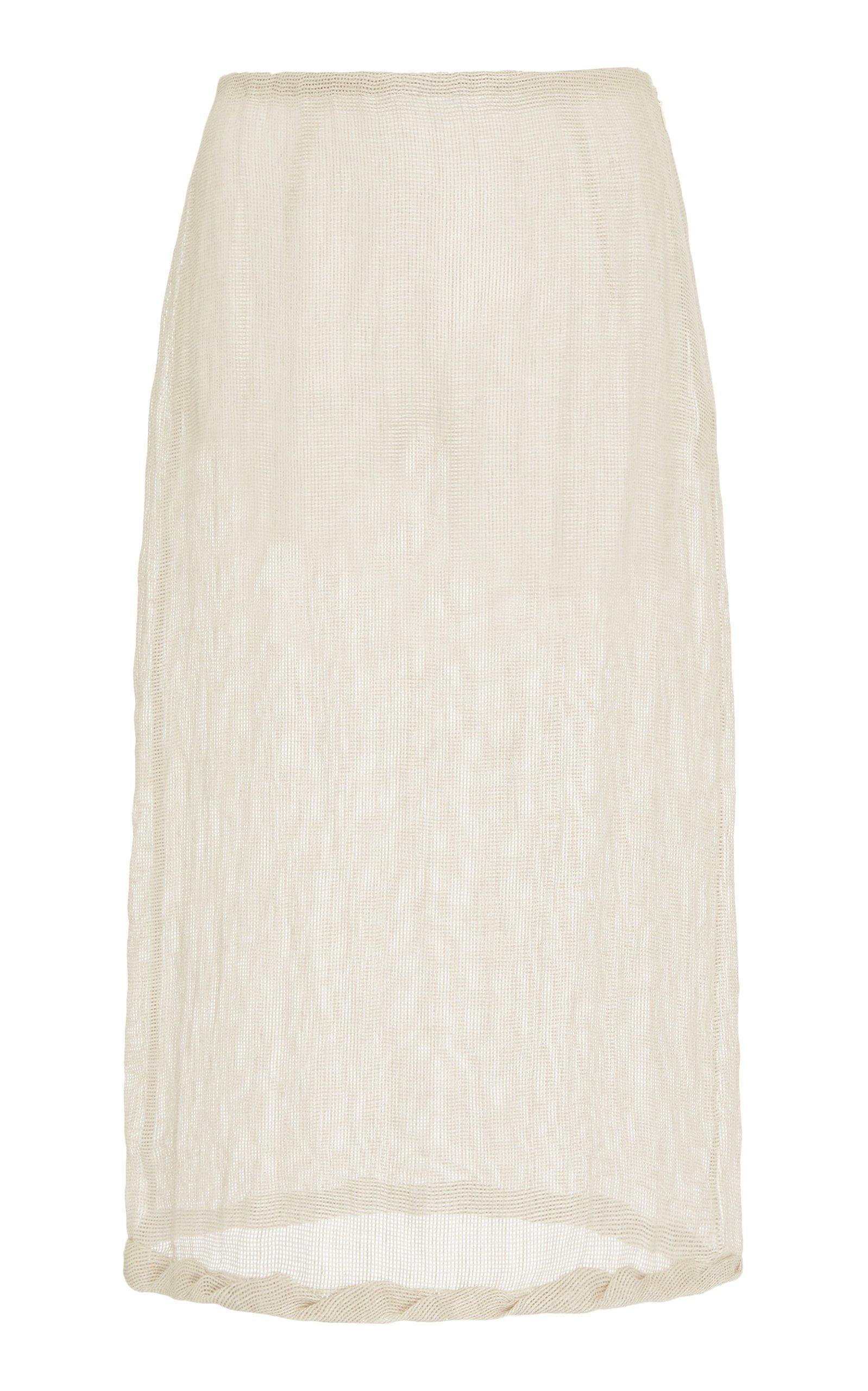 Rejina Pyo Dani Linen Voile Pencil Skirt Size: 6