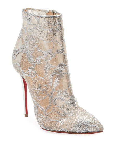 Christian Louboutin Gipsybootie Metallic Lace Red Sole Ankle Boot
