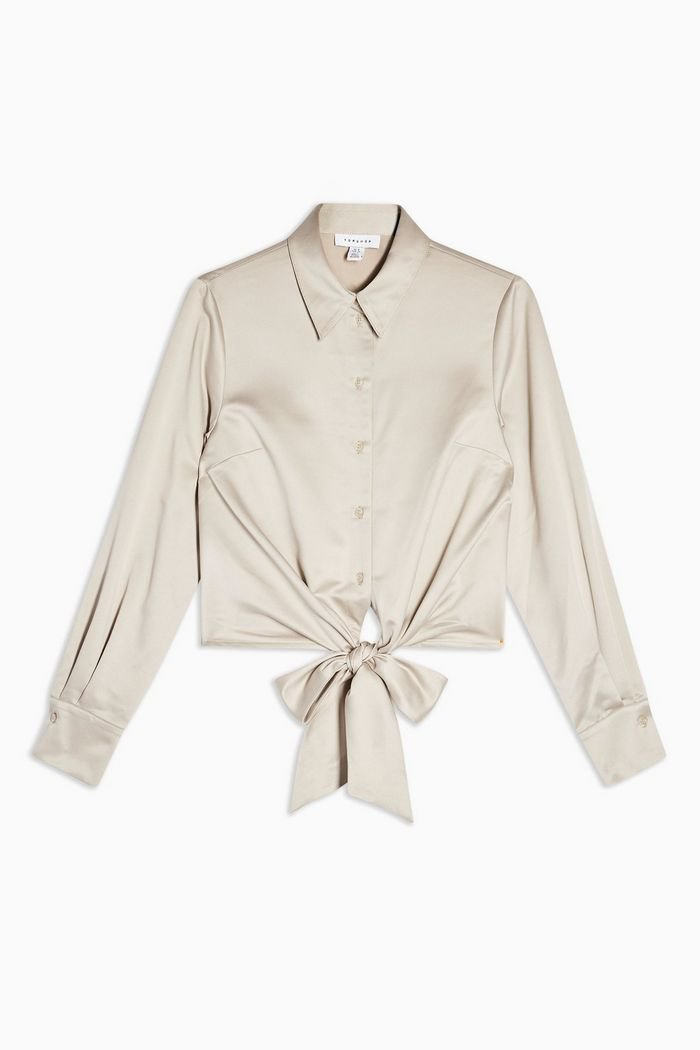 PETITE Satin Tie Front Shirt   Topshop