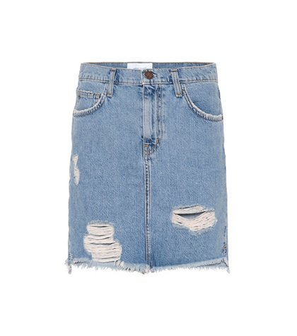 High-waisted denim miniskirt