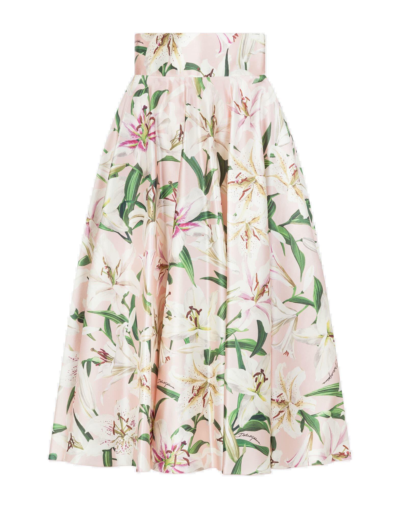 Dolce & Gabbana Silk Flower Print Skirt/gigli