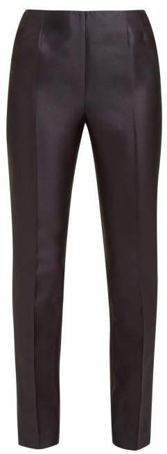 Masto Notched Cuff Silk Blend Faille Trousers - Womens - Navy