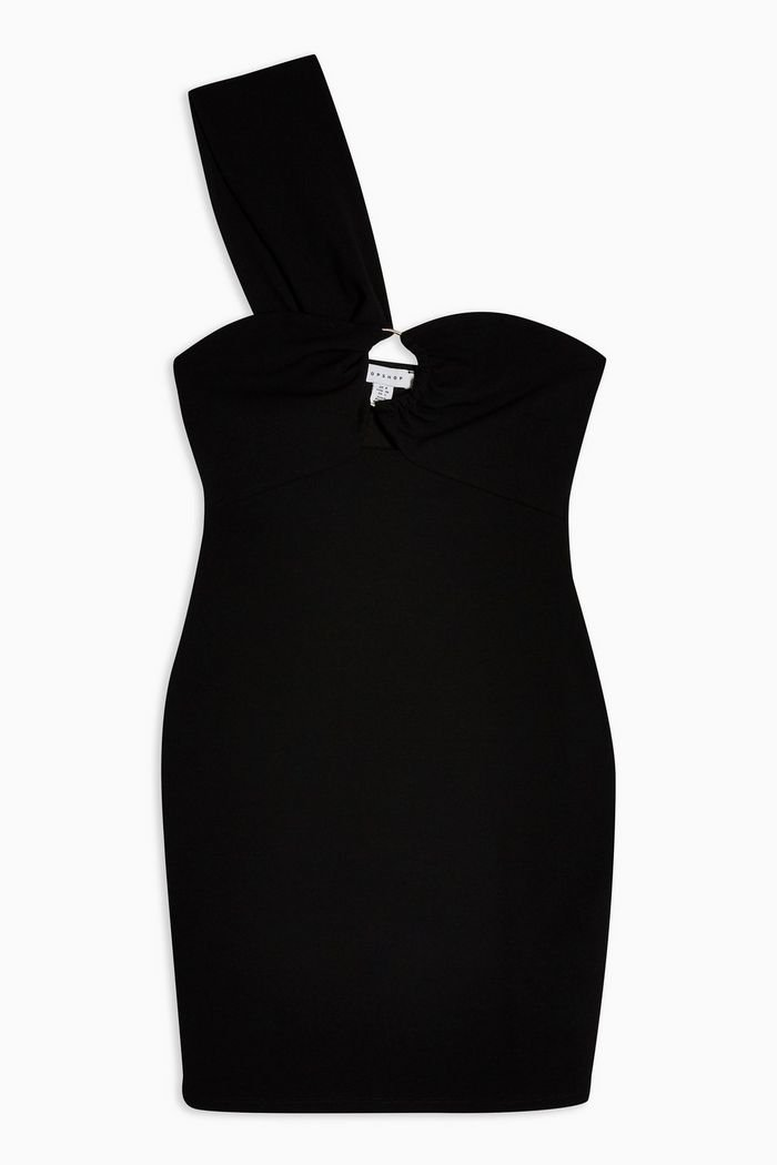 Twist One Shoulder Mini Dress Black | Topshop