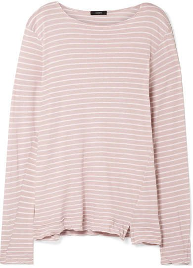 Striped Organic Cotton-jersey Top - Pastel pink