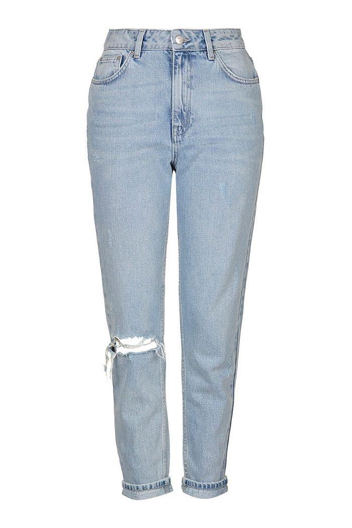 MOTO Bleach Rip Mom Jeans   Topshop