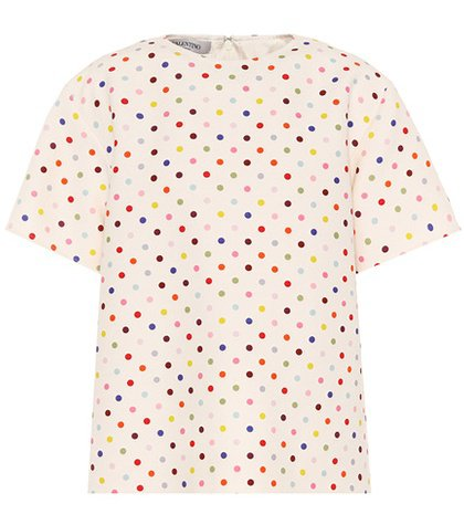 Polka-dot wool and silk top