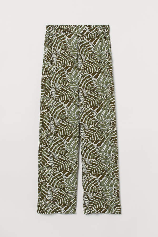 Wide-cut Pull-on Pants - Green