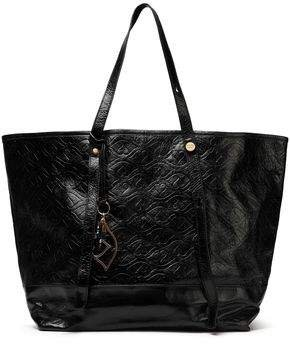 Bisou Embossed Glossed-leather Tote