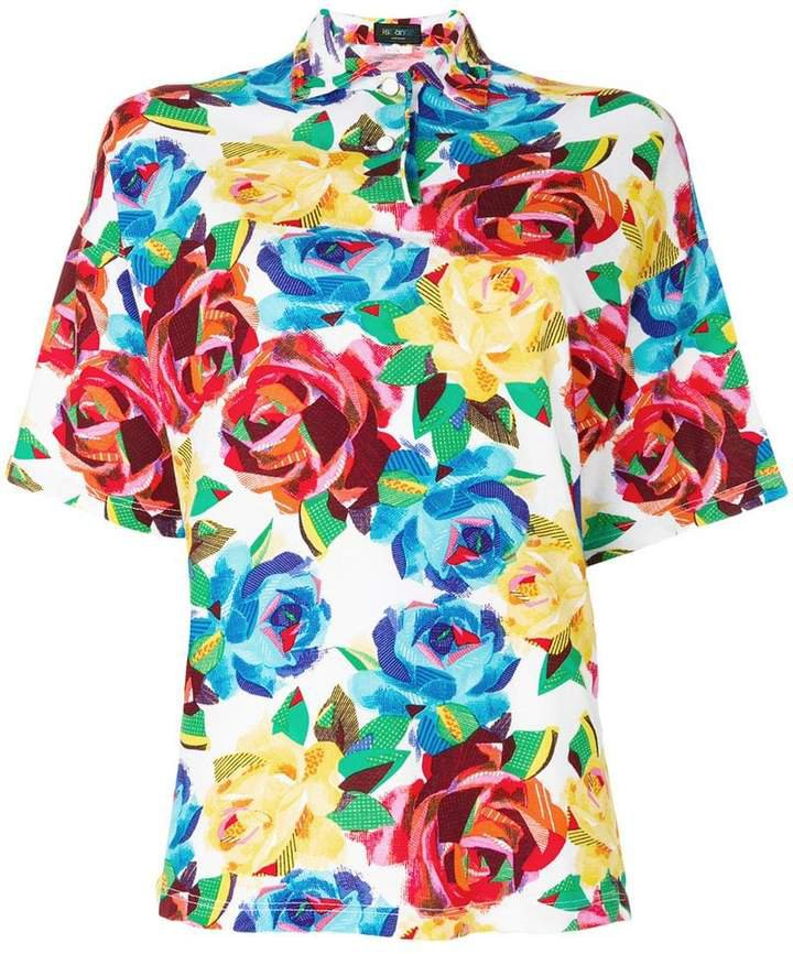 Pre-Owned floral print polo shirt