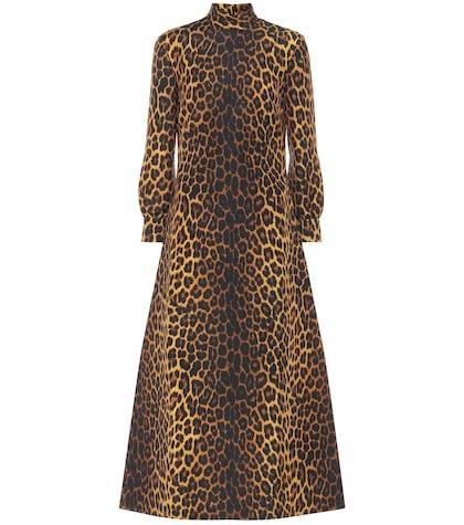 Leopard-print wool-blend dress