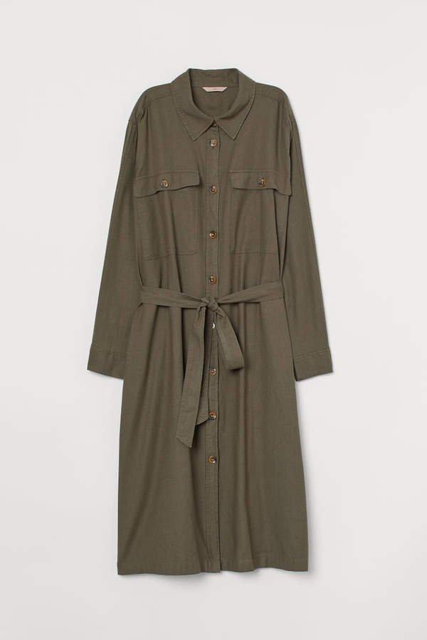 H&M+ Twill Shirt Dress - Green