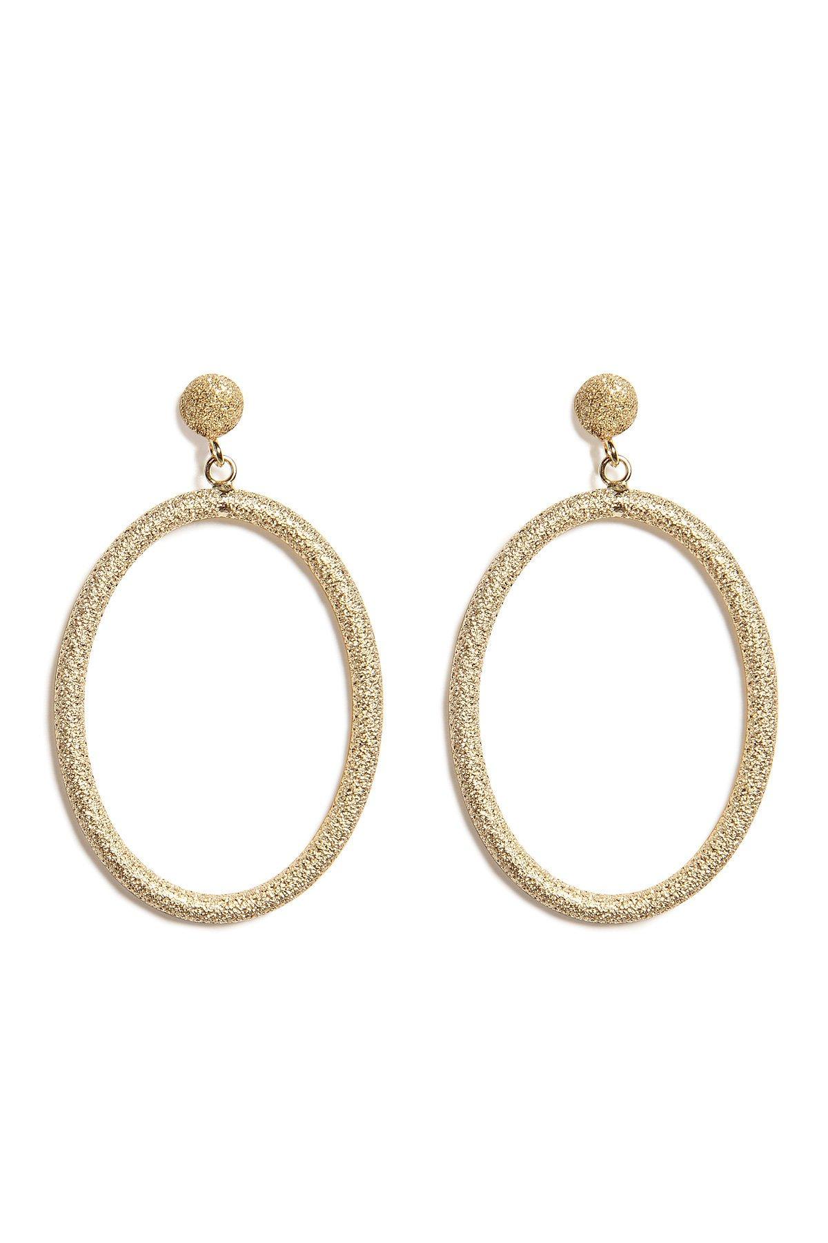 18K Gold Gitane Sparkly Oval Earrings Gr. One Size