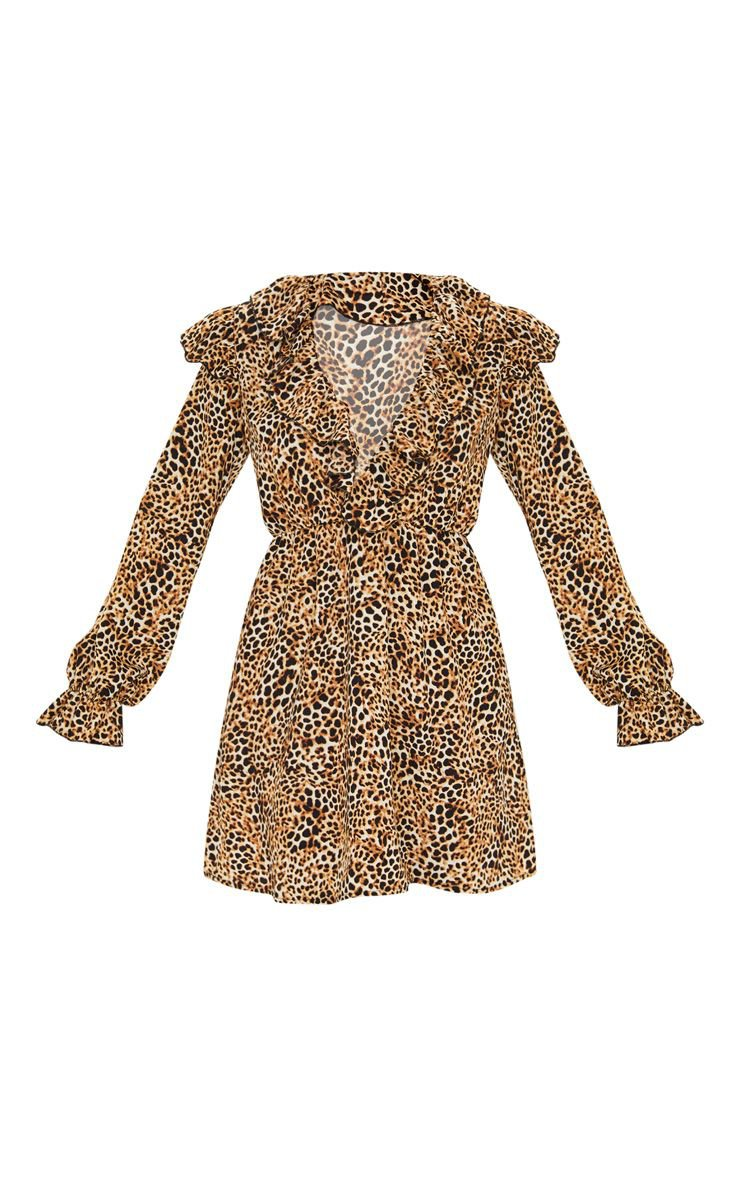 Brown Leopard Print Frill Detail V Neck Shift Mini Dress Animal Print    PrettyLittleThing USA