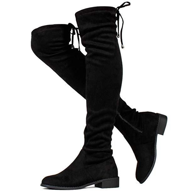 Amazon.com | RF ROOM OF FASHION Stretchy Over The Knee Riding Boots (Medium Calf) Black SU (8) | Over-the-Knee