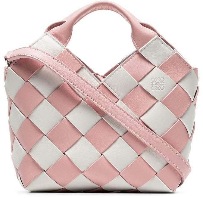 pink and white woven basket gingham mini leather bag
