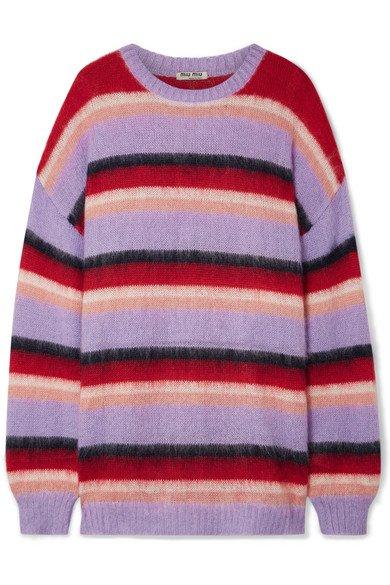 Miu Miu | Oversized striped mohair-blend sweater | NET-A-PORTER.COM
