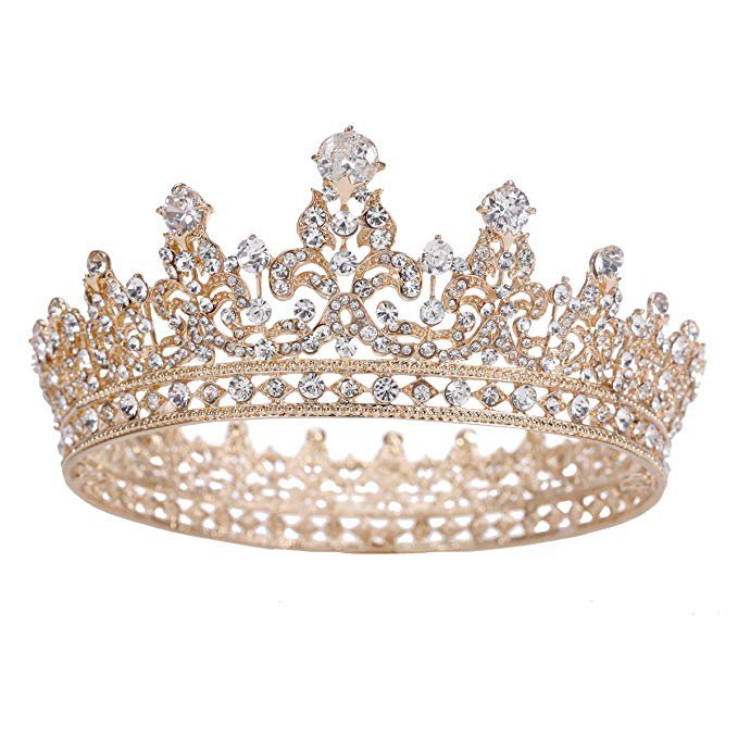 Amazon.com: Stuff Zircon Crystal Rhinestone Bridal Tiara Crown Wedding Hair Accessories Bride Princess Full Crown (Gold-Plated): Clothing