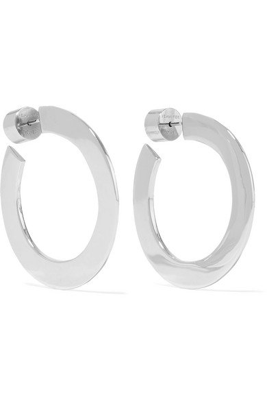 Jennifer Fisher | Mini Drew silver-plated hoop earrings | NET-A-PORTER.COM