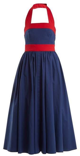Staud - Waikiki Cotton Blend Dress - Womens - Blue