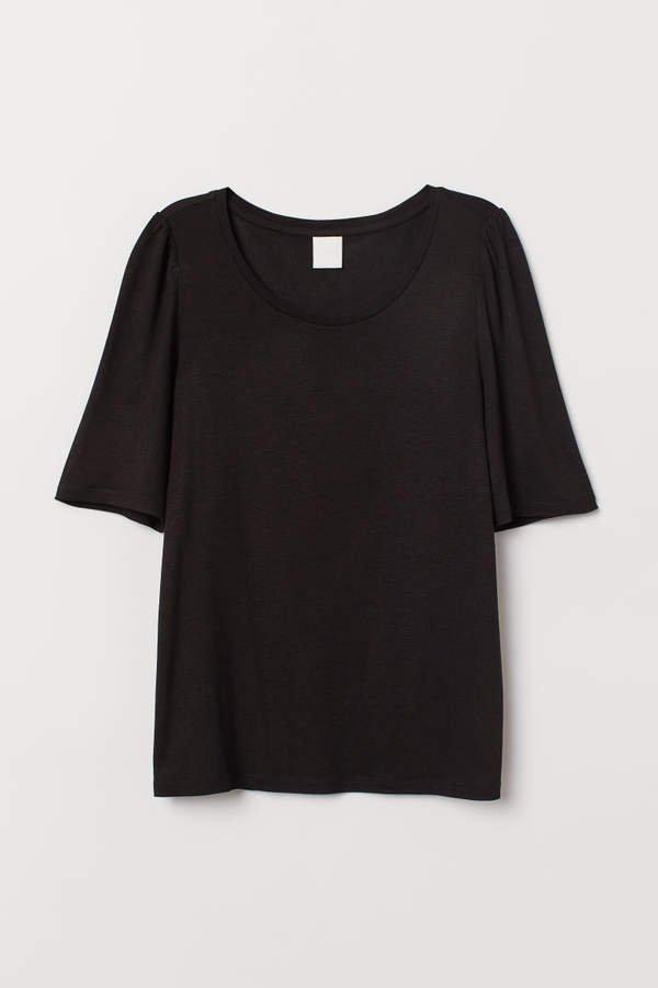 Puff-sleeved T-shirt - Black