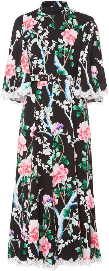Lace-Trimmed Floral Midi Dress