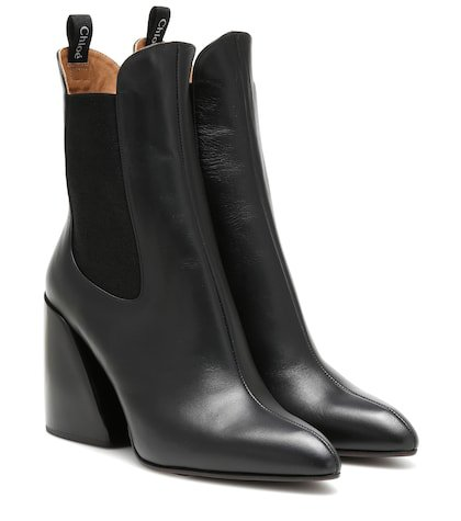 Wave leather ankle boots