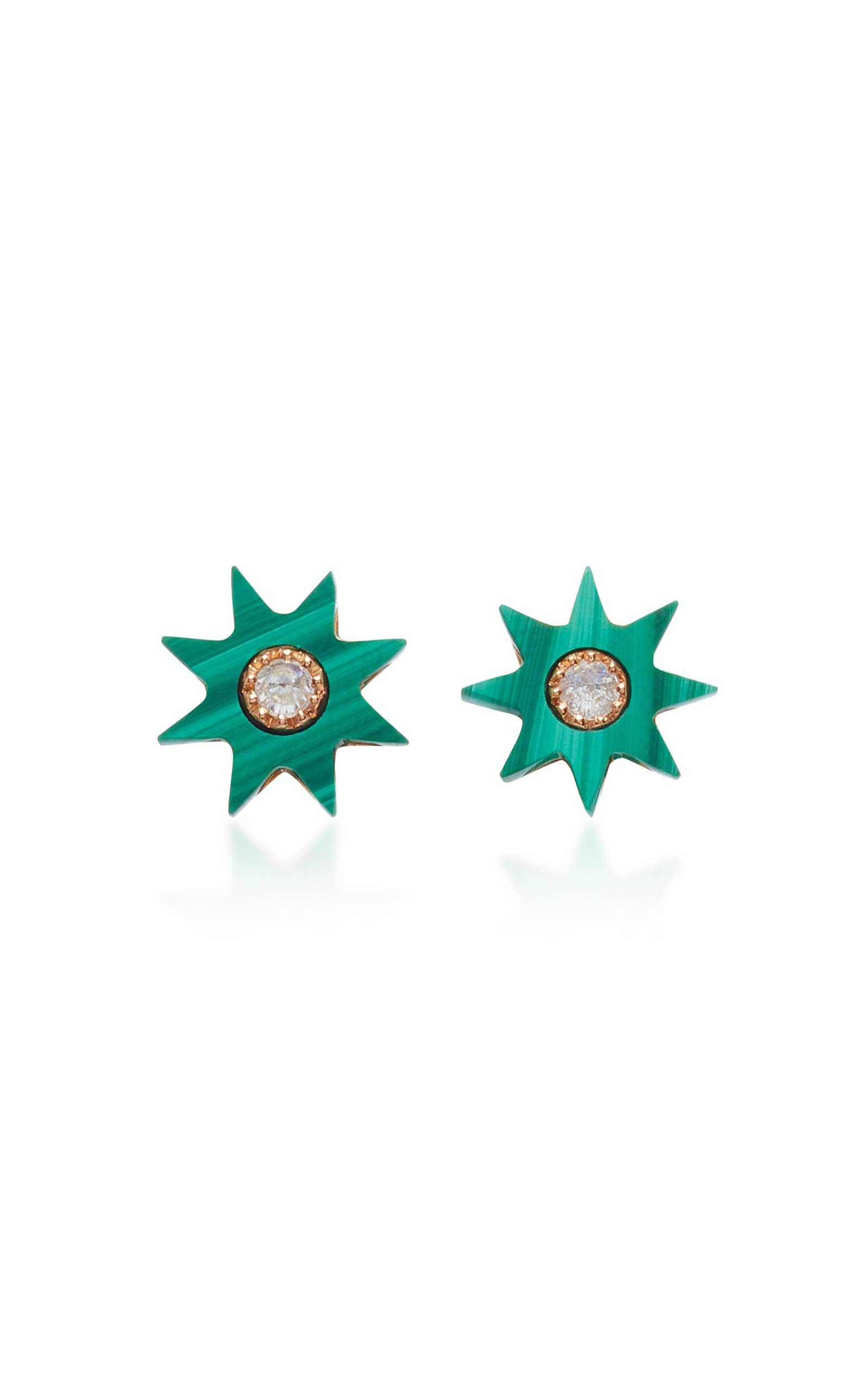 Colette Jewelry Starburst 18K Rose Gold Agate and Diamond Earrings