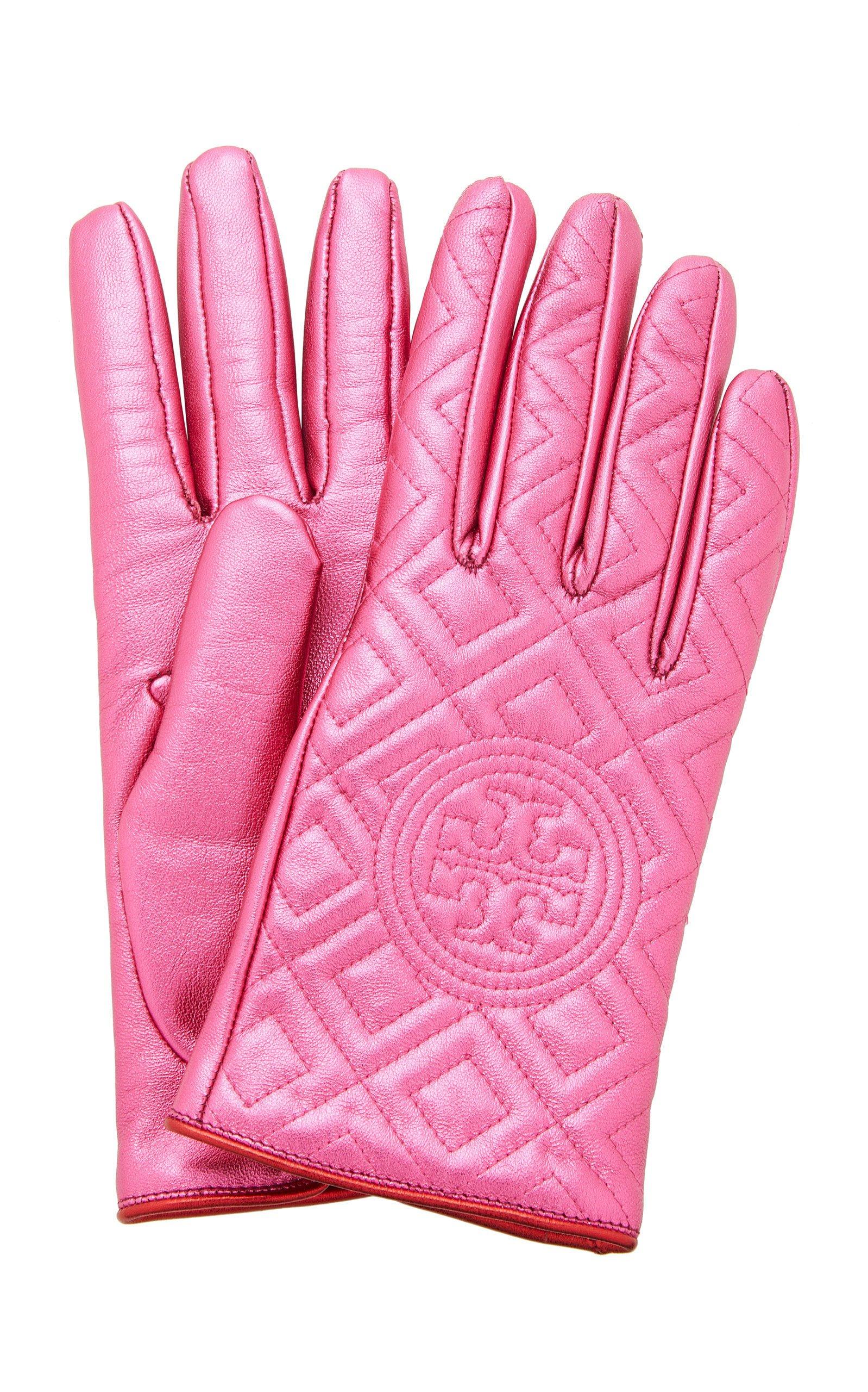 Tory Burch Fleming Metallic Gloves