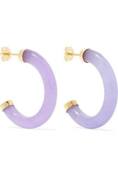 Loren Stewart | Gold jade hoop earrings | NET-A-PORTER.COM