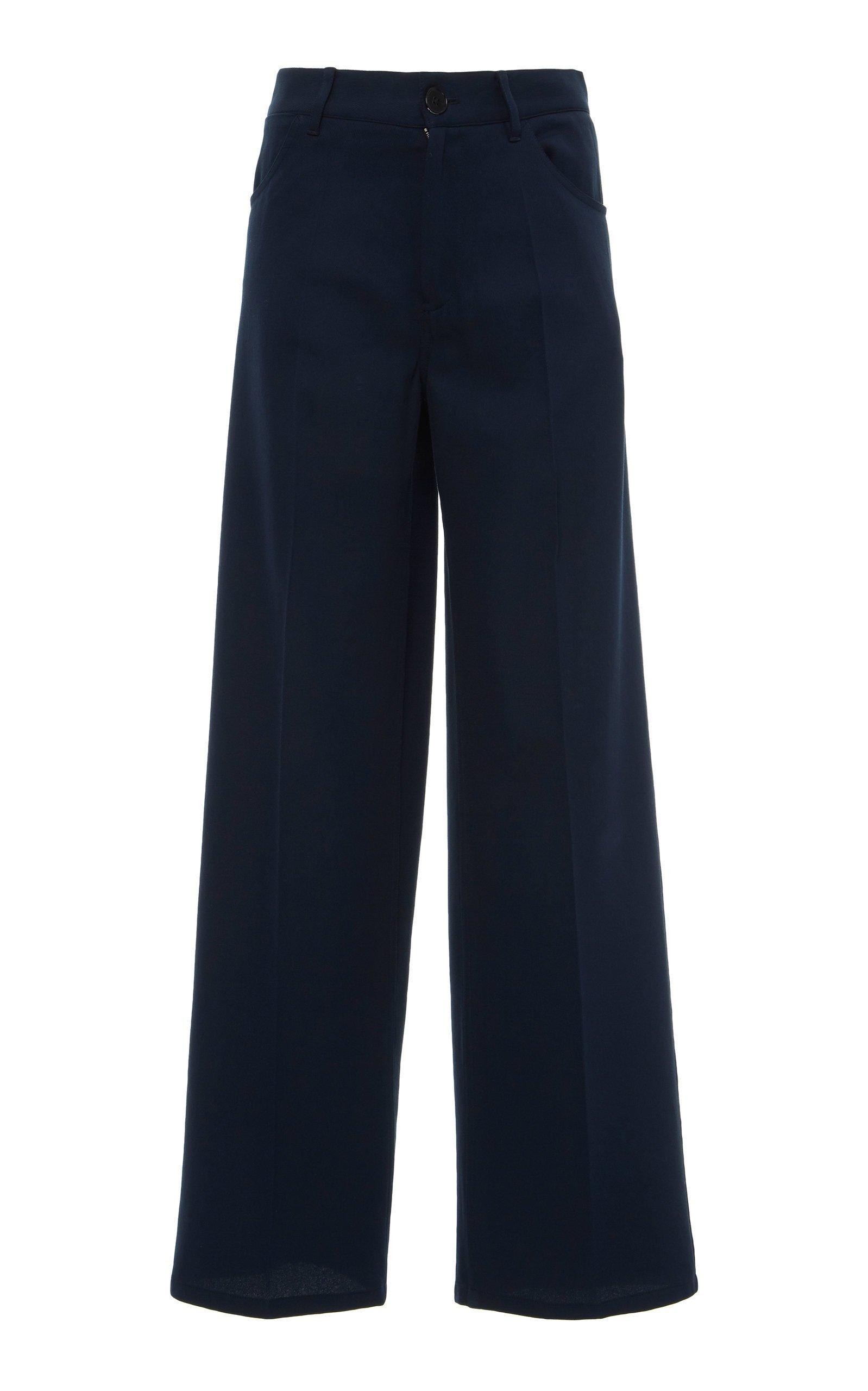 Jil Sander Murphy Cotton Silk Straight-Leg Trouser