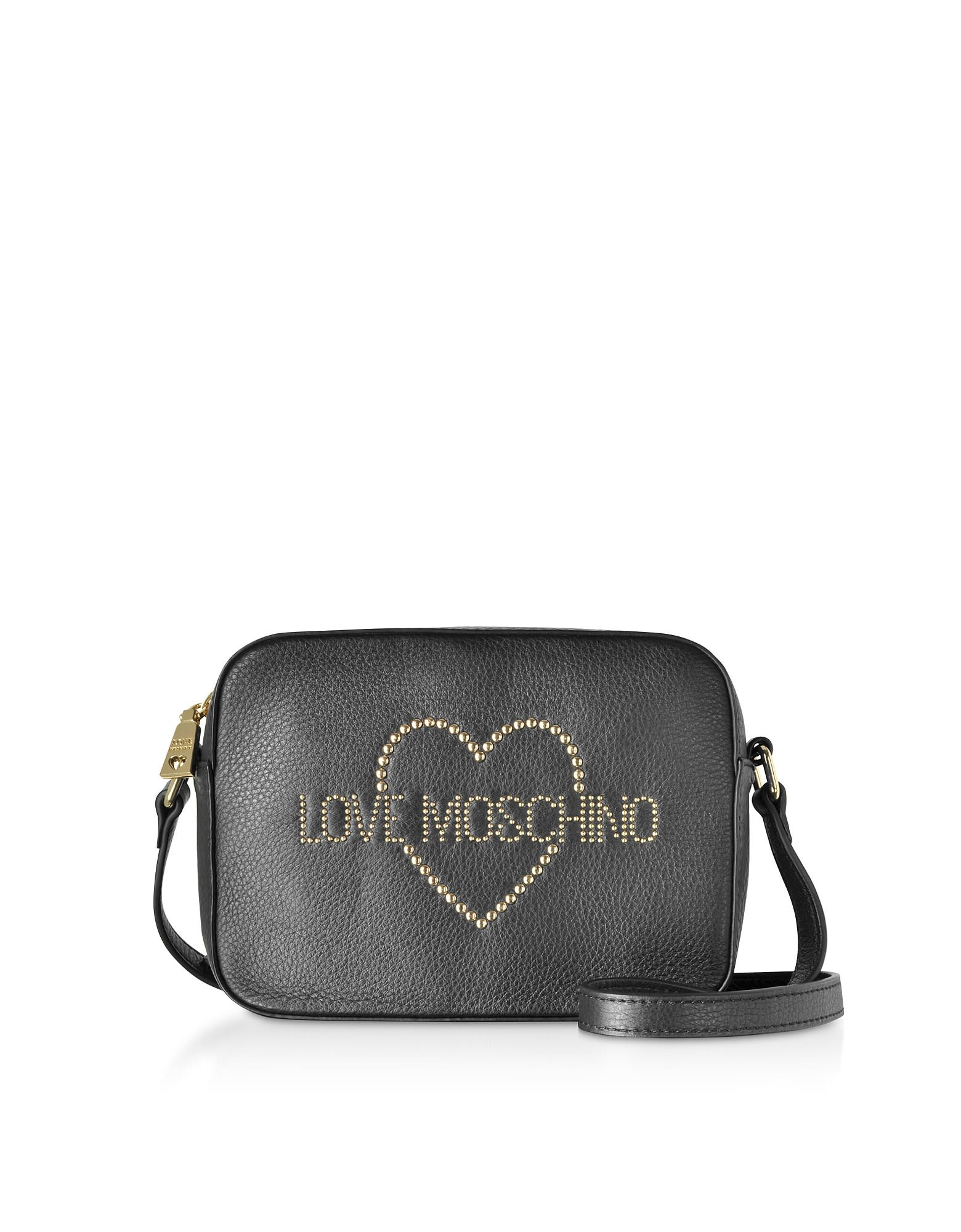 Love Moschino Small Leather Crossbody Bag W/ Golden Studs