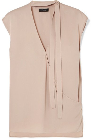 Theory | Pussy-bow wrap-effect silk blouse | NET-A-PORTER.COM