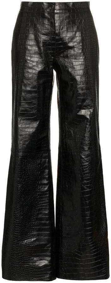 flared leg patent leather trousers