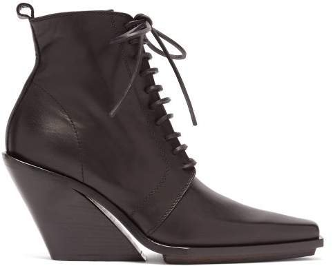 Slanted Heel Lace Up Leather Ankle Boots - Womens - Black