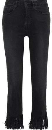 Le Crop Mini Fringed Mid-rise Slim-leg Jeans