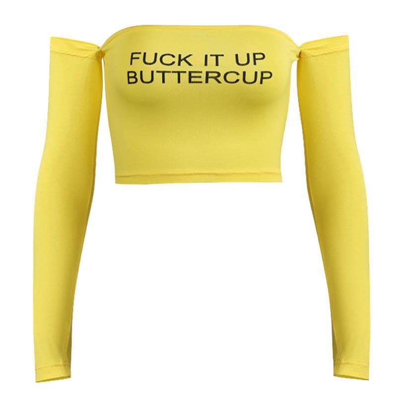 Butter cup off shoulder crop top