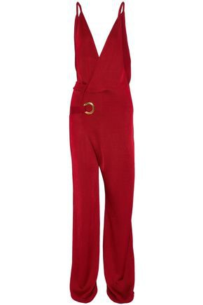 balmain jumpsuit red